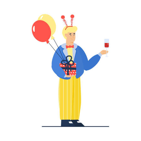 Cartoon man ready for birthday celebration party with holiday balloons