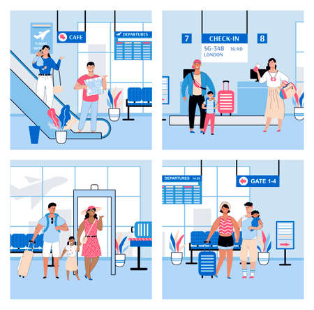 Airport halls interior set with traveling families, sketch vector illustration.