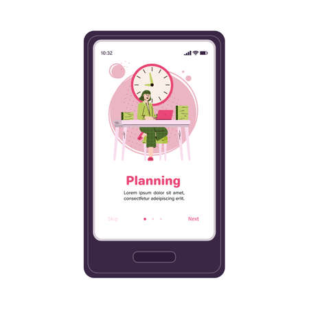 Planning mobile app onboarding poster template on smartphone screen