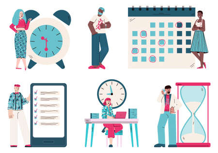 Time management and planning set of businessmen, vector illustration isolated.