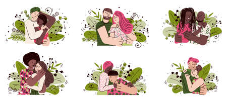 Happy cartoon couple hug set with people in love hugging each other Vettoriali