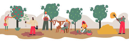 Farm work banner with cartoon people harvesting apples from orchard trees