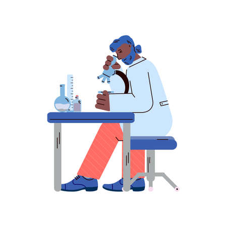Man in science laboratory doing research on microscope Illustration
