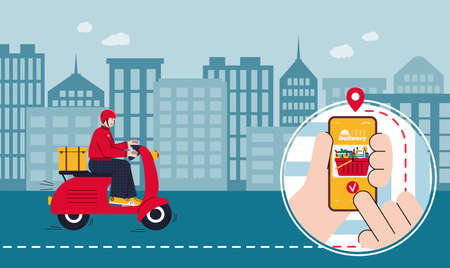 vector illustration of food delivery with courier or deliver on motor scooter