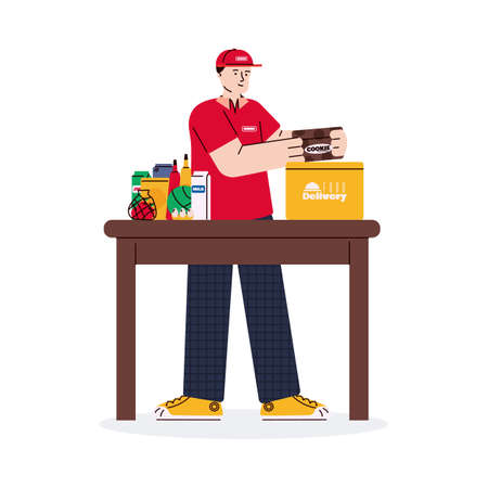 Packaging online food order for delivery cartoon vector illustration isolated.