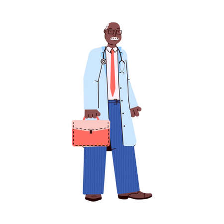 Black skinned doctor character standing, cartoon vector illustration isolated.