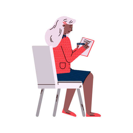Woman - business coaching course lectures student, vector illustration isolated.