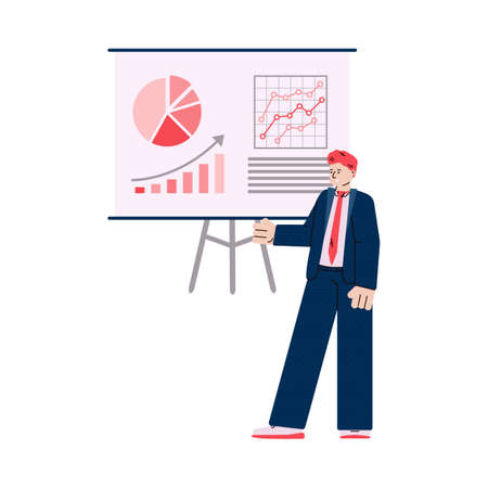 Businessman near presentation board with charts, vector illustration isolated.