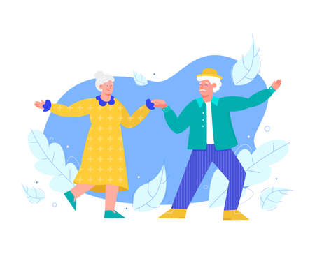 Elderly people characters dance holding hands flat vector illustration isolated. Vectores