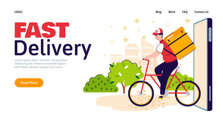 Fast delivery man on bicycle with food backpack riding out the door