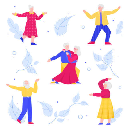 Set elderly people dancing at background of leaves, cartoon vector illustration. Vectores