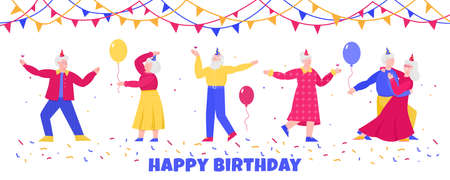 Birthday banner with elderly people dancing, flat vector illustration isolated.
