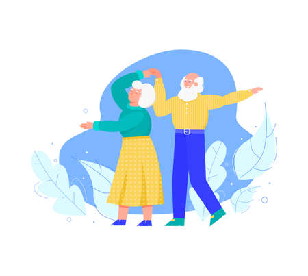 Old senior people dancing together, cartoon vector illustration isolated. Vectores