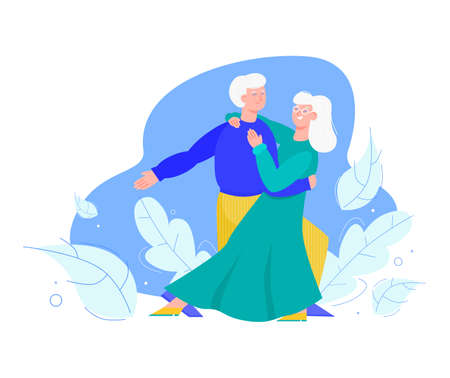 Old senior family couple dancing together cartoon vector illustration isolated. Vectores