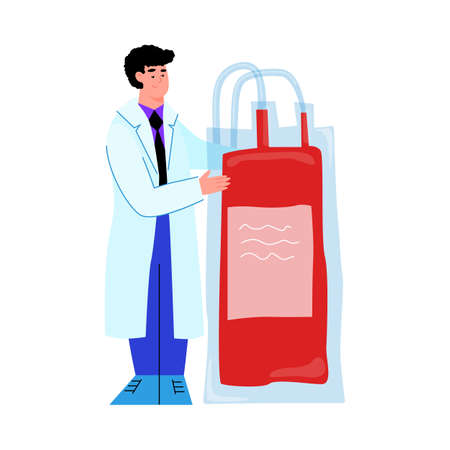 Cartoon doctor holding blood transfusion bag from donor donation