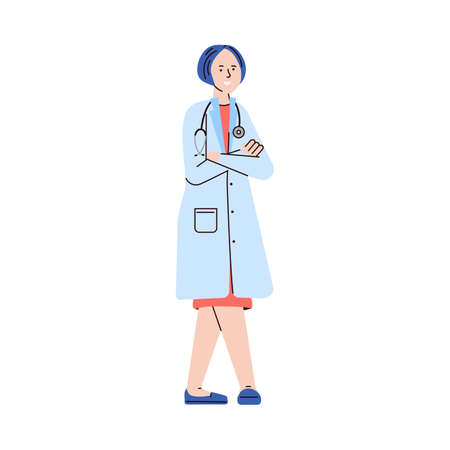 Cartoon female doctor in medical uniform with stethoscope