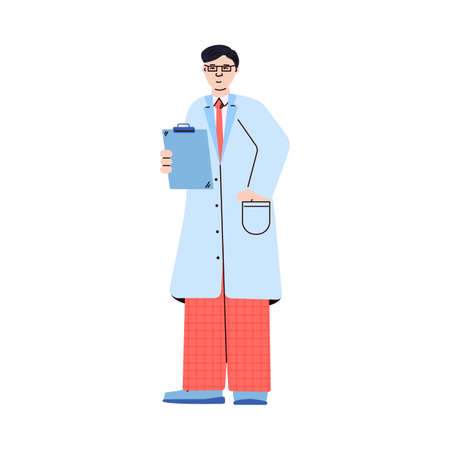 Man professional doctor in medical uniform cartoon vector illustration isolated.