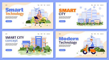 Smart city urban technology website banners set, cartoon vector illustration.