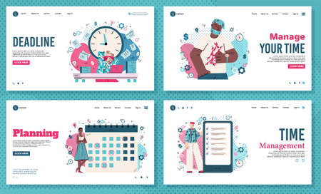 Time management and deadline banners set, flat cartoon vector illustration. Vettoriali