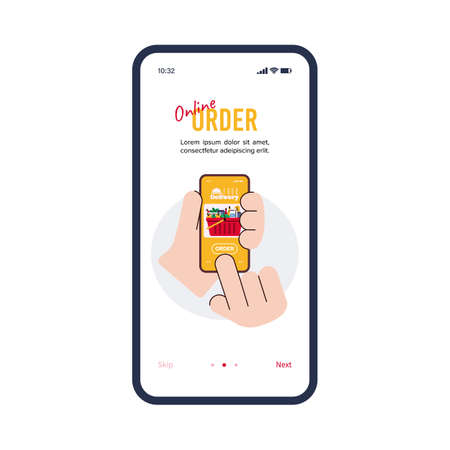 Online order food delivery onboard page cartoon vector illustration isolated. 矢量图像