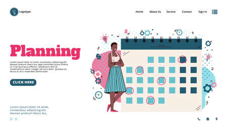Business planning banner with woman near timetable, cartoon vector illustration.