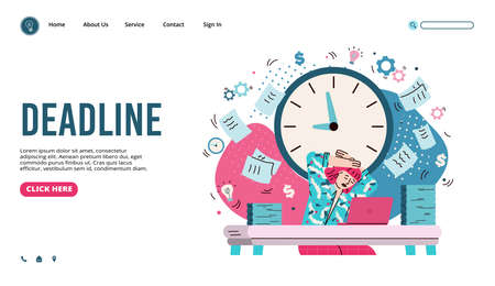 Deadline management web banner with business woman cartoon vector illustration. Vettoriali