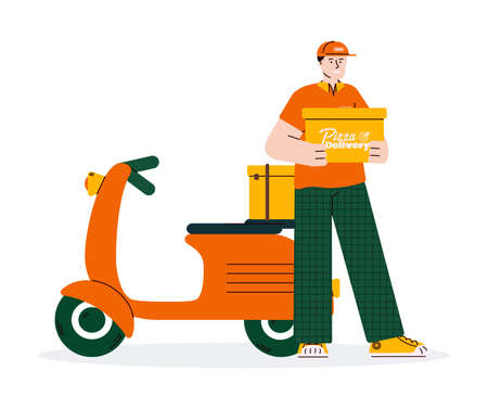 Delivery man cartoon with scooter holding box vector illustration isolated.