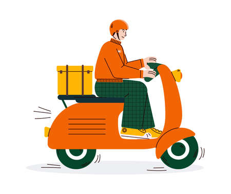 Delivery man riding scooter motorcycle cartoon vector illustration isolated.