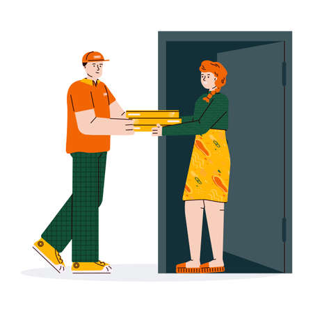 Delivery man providing pizza to client, cartoon vector illustration isolated. 矢量图像