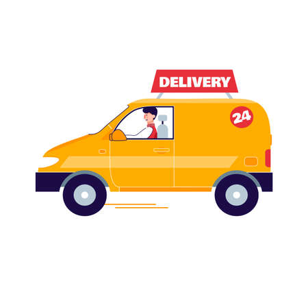 Delivery truck or cargo mail services van, cartoon vector illustration isolated.