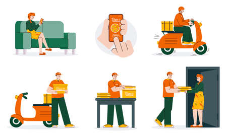 Food delivery service set - cartoon people ordering and delivering pizza