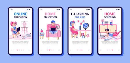 Children online education and home schooling app set cartoon vector illustration.