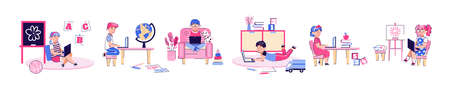 Children characters set learning at home on laptop vector illustration isolated. Vectores