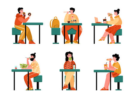 Cartoon people eating food at cafe table - isolated set