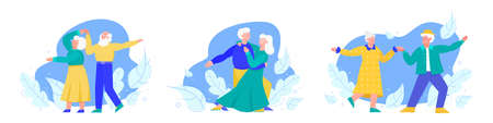 Seniors dancing people couples set flat cartoon vector illustration isolated. Vectores