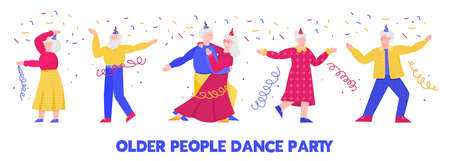 Older people dance vector illustration isolated on white background. Vectores