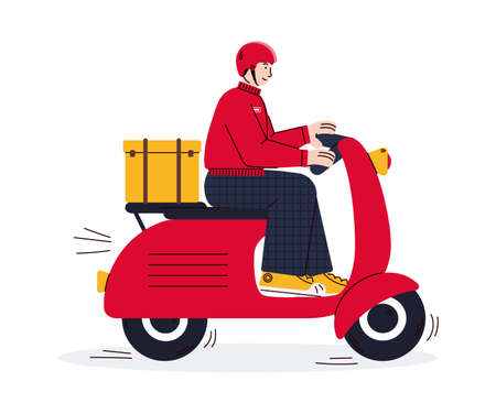 Cartoon courier riding red delivery scooter - vector illustration