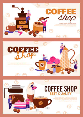 Set of banners and flyers for coffee shop and cafe cartoon vector illustration.