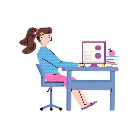 Cute girl sitting at table and studying, cartoon vector illustration isolated on white background. Child character for distance education and homeschooling topic.