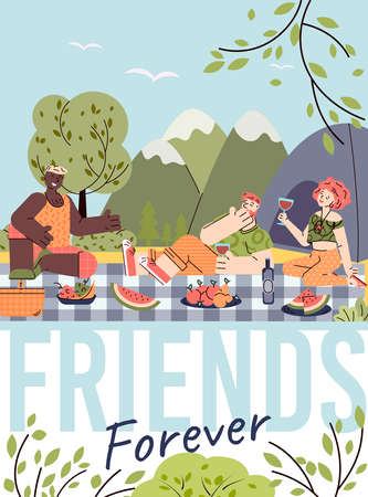 Forever friends card design with people characters on picnic outdoors, colorful vector illustration in flat cartoon style. Friendship and human relationships topic.