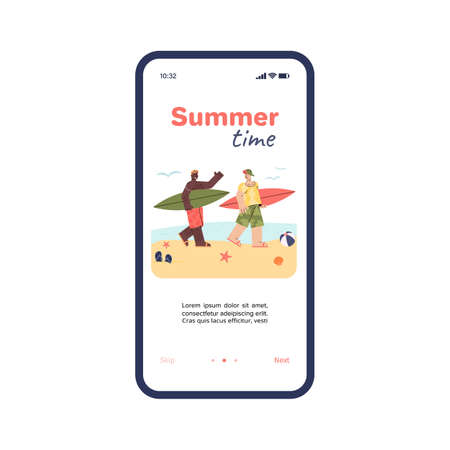 Mobile application onboarding page for vacation activities and summer adventure trip or journey, colorful flat cartoon vector illustration isolated on white background. 일러스트