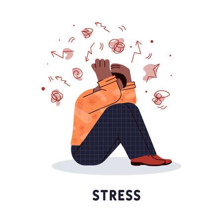 Stressed out adult man cartoon character holding his head, flat vector illustration isolated on white background. Human mental health and stress disorder. 일러스트