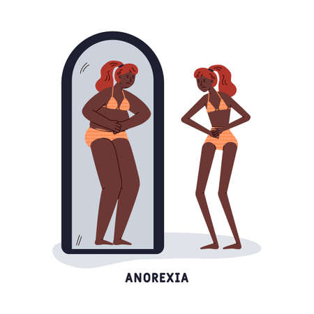 Anorexia mental disorder or psychological frustration symbol with thin woman looking at mirror and seeing fat woman, vector illustration isolated on white background. Vecteurs