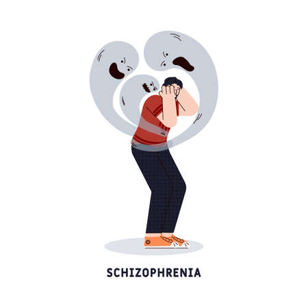 Schizophrenia mental disorder symbol a man character suffering from psychological frustration, cartoon flat vector illustration isolated on white background.