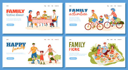 Vector set of landing page templates for a happy family that is having fun. The family gathered for a festive dinner. Parents with a child ride bicycles and roller skates. The family is having a picnic. A set of flat line illustrations with parents and children for web design.