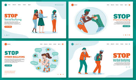 Templates set of web pages to stop bullying with characters of teenagers or schoolchildren, flat vector illustration. The social problem of bullying among young people.