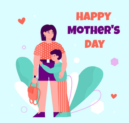 Happy Mother day greeting card with child hugging his mom - cartoon boy and woman hug on colorful holiday poster. Vector illustration.