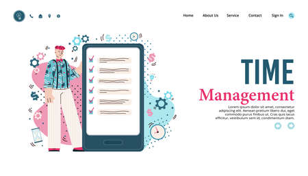 Time management website banner with man using business to do list app on giant smartphone. Productivity service homepage template, vector illustration.