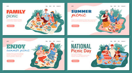 Set of website banners with family and friends having a picnic in park, flat vector illustration on white background. Landing pages for national picnic day.