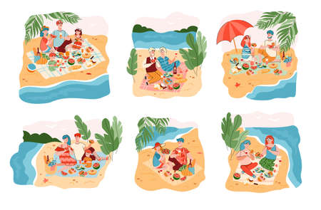 Set of summer scenes with cartoon characters of various people having a picnic on nature, flat vector illustration isolated on white background. Summer family vacations.